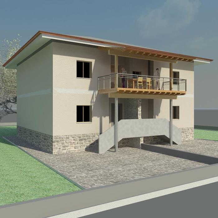 rendering casa progettata dallo studio a verona