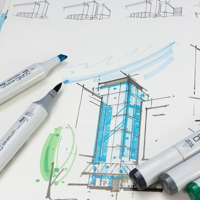 schizzo durante una consulenza architettonica nello studio di verona