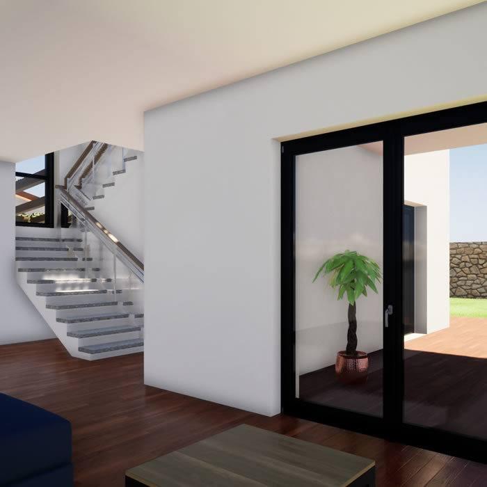 rendering villa, ingresso e scale per il piano superiore